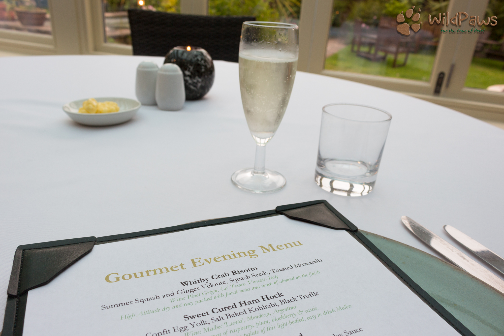 Our 6 Course Menu at the Ox Pasture Hall Hotel with Prosecco