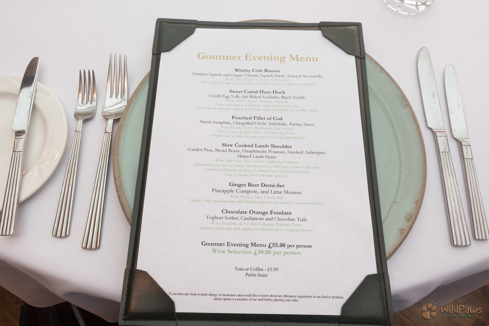 6 Gourmet Evening Menu at the Ox Pasture Hall Country Hotel