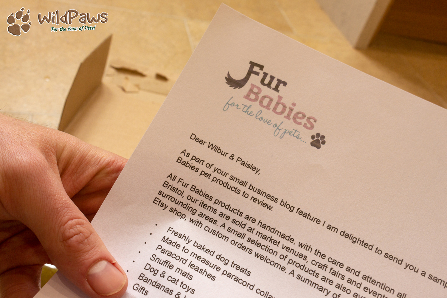 Wilbur & Paisley's Letter from Fur Babies