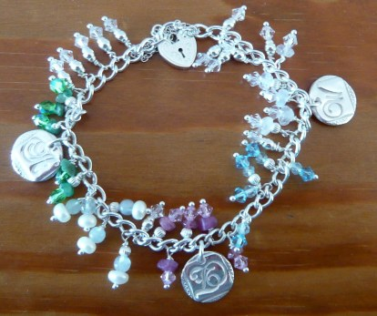 Family initial and birthstone charm bracelet