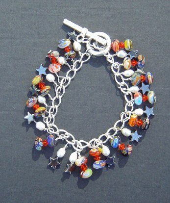 Glass charms bracelet