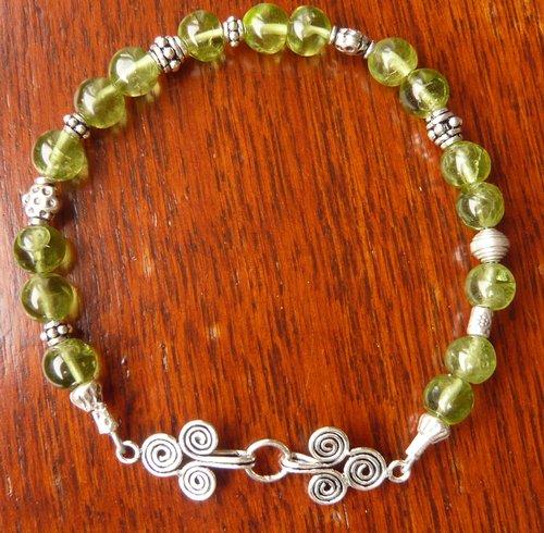 August birthstone peridot bracelet