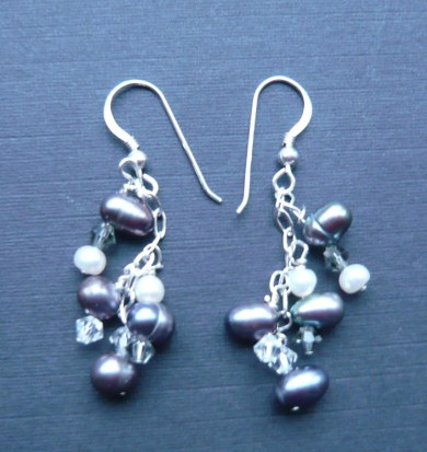 Black pearl and hematitie stars earrings