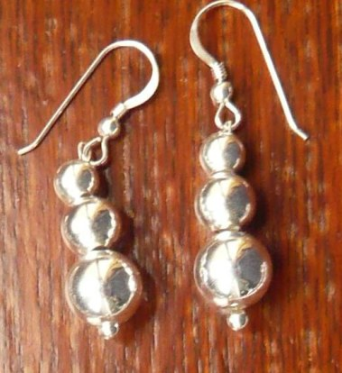 3 silver ball earrings