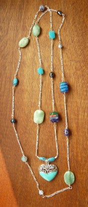 Long blues lariat with turquoise pendant