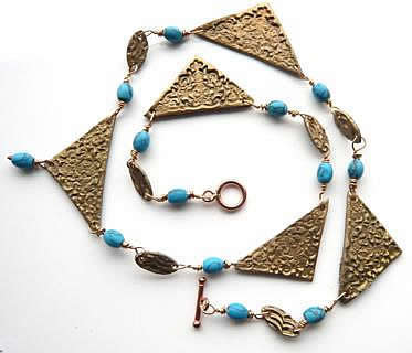 Athena, bronze and turquoise necklace
