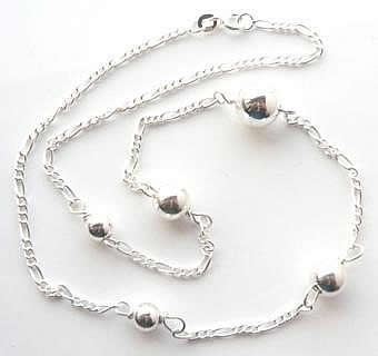 Figaro and silver ball long necklace