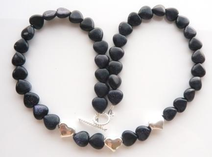 Blue goldstone and silver bead necklace