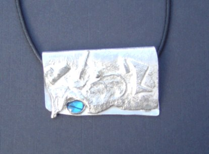 Fused silver and paua shell pendant