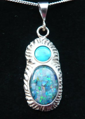 Opal and turquoise pendant