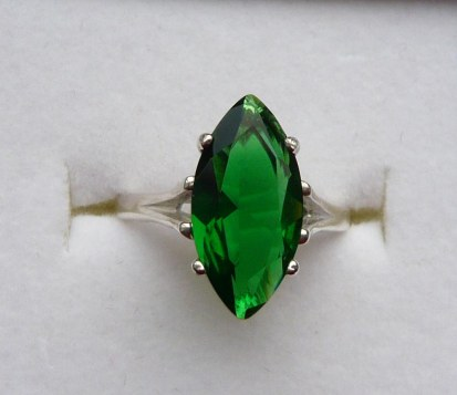 Lab marquise emerald ring