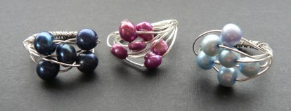Three pearl wire wrap rings
