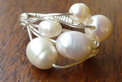 White pearl wire wrap ring