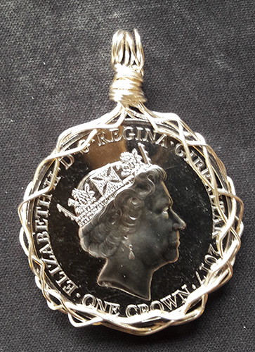 Wire wrapped Crown coin