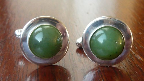 Cloudy emerald cufflinks