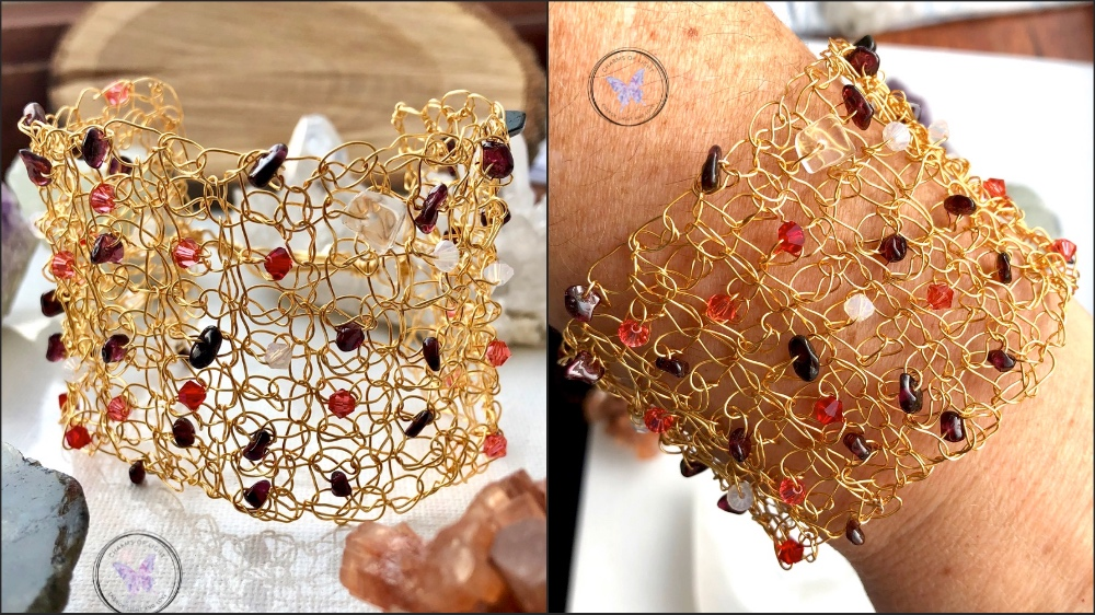 Copper Wire Crochet Cuff Bracelet with Garnet, Moonstone and Swarovski Crystals