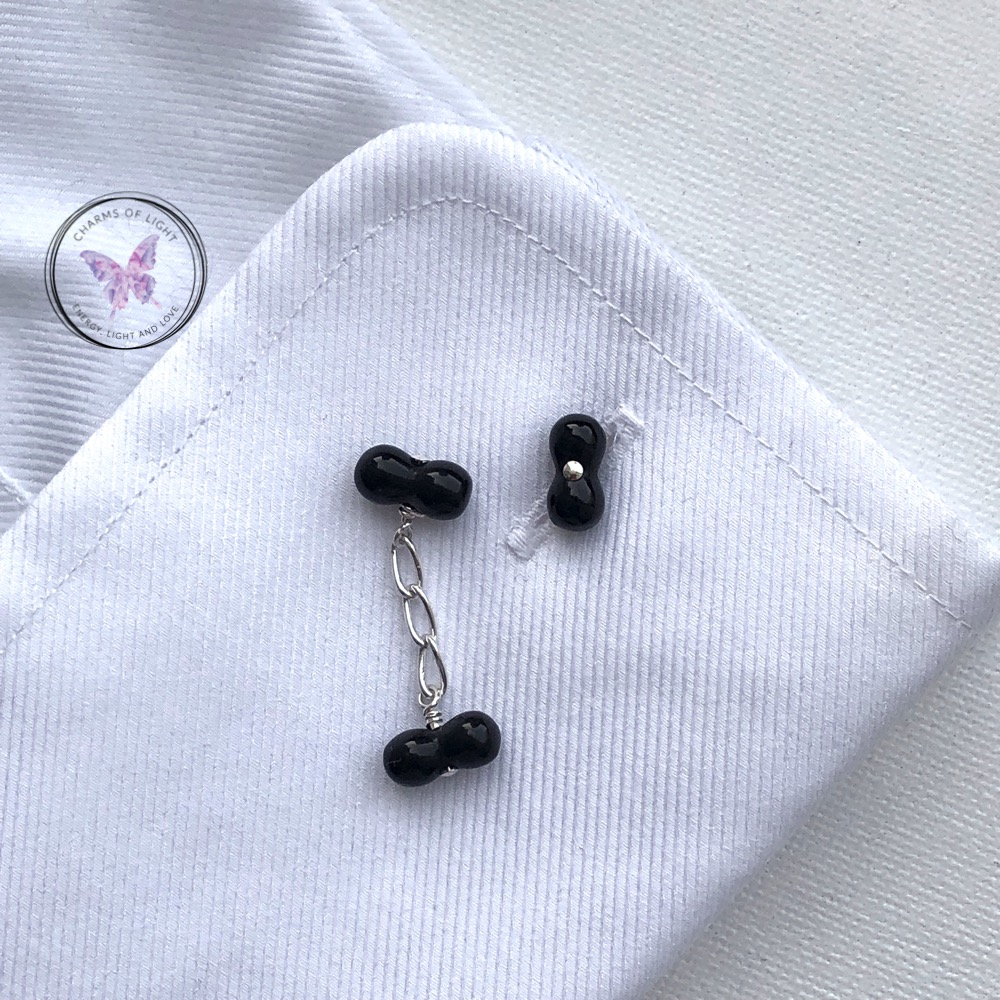 Black Onyx Bubble Chain Cufflinks