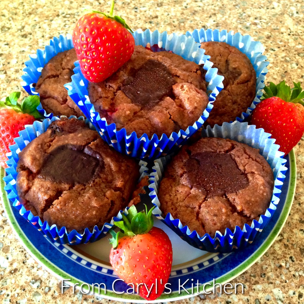 Vegan Chocolate Strawberry Almond Muffins