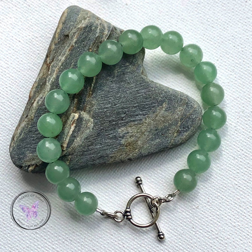 Green Aventurine Healing Bracelet with Silver Toggle Clasp