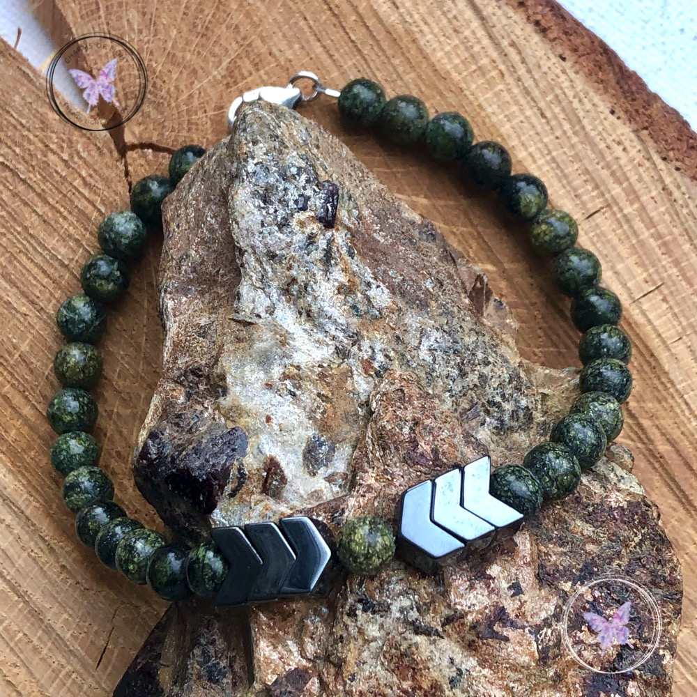 Men's Serpentine & Hematite Arrow Bracelet