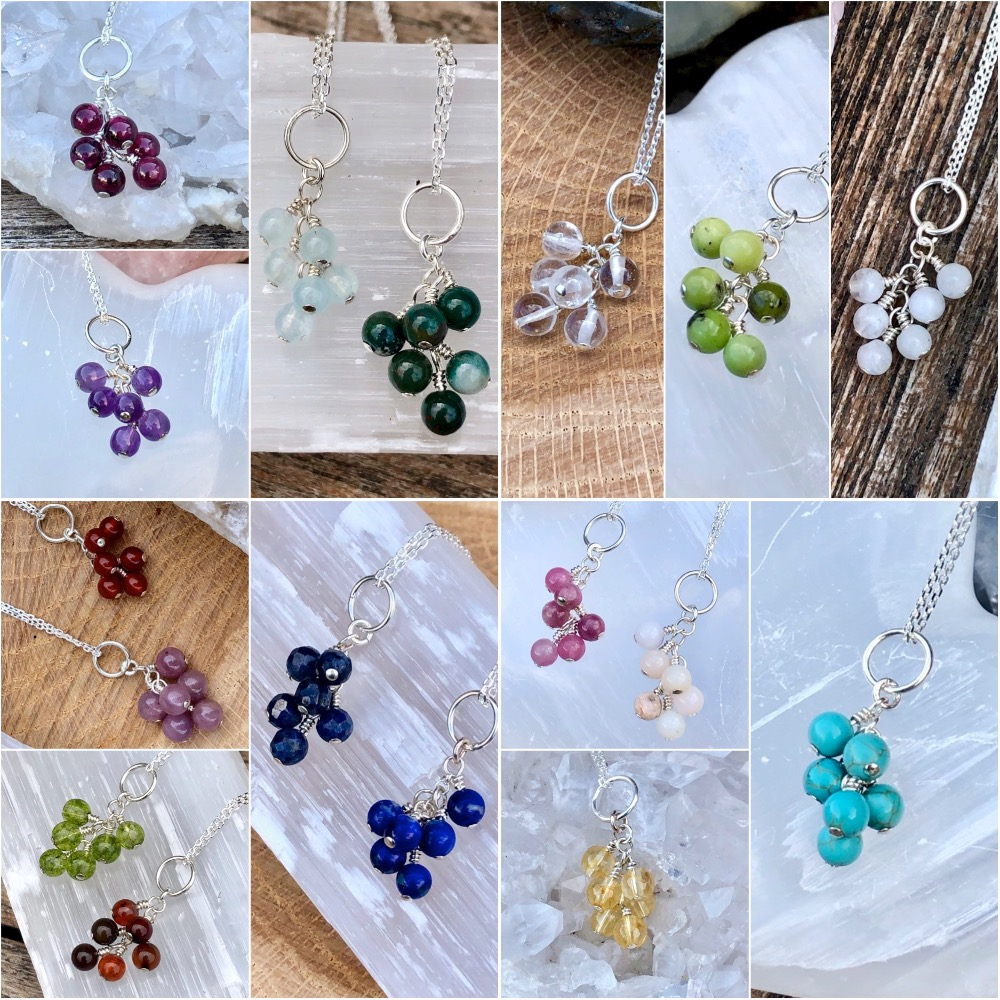 Crystal Birthstone Cluster Necklaces