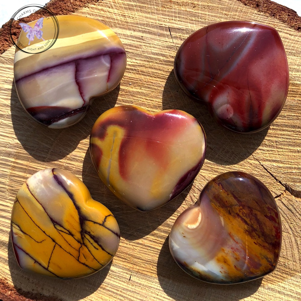 Mookaite polished hearts