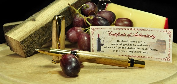 Jr Gent turned from a Beaufort reclaimed wine cask pen blank – image courtesy of Pittswood Crafts