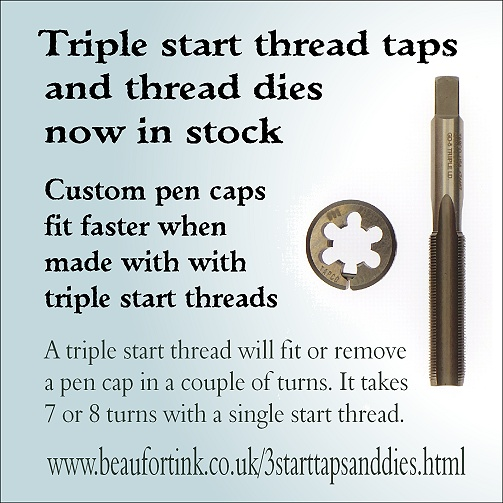 Triple start thread taps and thread dies are now in stock at Beaufort Ink