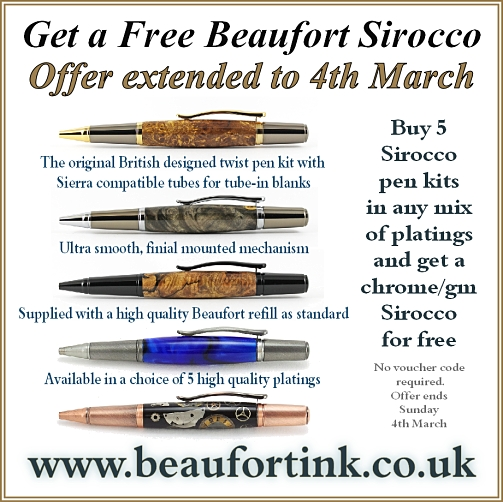 Buy 5 Sirocco pen kits in any mix of platings and get a Sirocco in chrome/gunmetal completely free