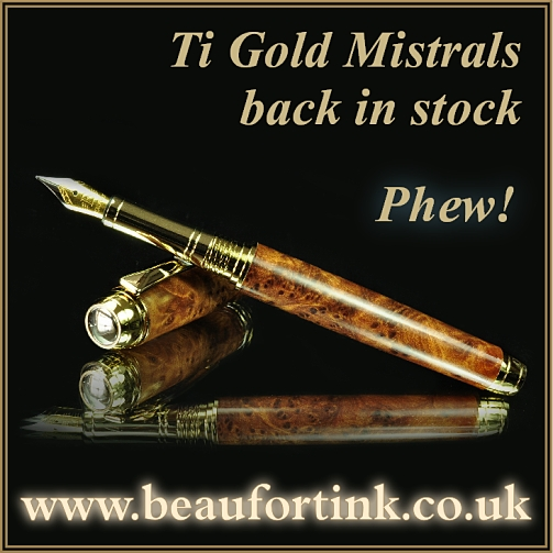Our ever popular, high end Mistral pen kits are back in stock
