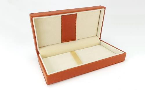 Luxury pen box with stitched leatherette exterior and interior detailing, sprung hinged closure and spacious padded velvet interior,