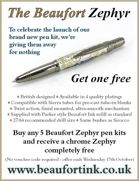 Buy any 5 Zephyr pen kits, and get one free until 17th October